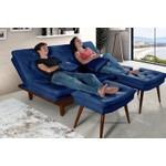 Sofa Cama Reclinavel Caribe + Duas Banquetas Rubi Essencial Azul Marinho