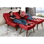 Sofa Cama Reclinavel Caribe + Duas Banquetas Rubi Essencial Vermelho