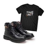 Bota ACT Second Shift Semi Cromo Preto + Camiseta Preto