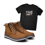 Kit Bota ACT Zip One Osso + Camiseta Preta
