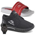 Kit Tênis Masculino Adaption Ax900 + Chinelo+relogio brinde slide preto e vermelho