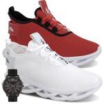 Kit 2 Tênis Limited Masculino Branco Sola Branca e Vermelho Sola Branca + Relógio