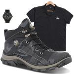 coturno tiger cinza + camisa preta + relógio de brinde