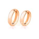 Alianças De Noivado e Casamento Em Ouro Rose 18k 0,750 Fa-23-r
