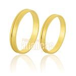 Aliança De Ouro Com Friso 10k