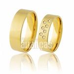 Aliança de Ouro 18k com Diamantes - Frete Grátis