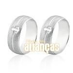 Alianças Em Prata 0,950 k Diamantada Com Ancora Vazada