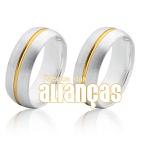 Par De Alianças Em Prata Escovadas Com Fios Folheados a Ouro 18k