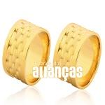 Alianças De Noivado e Casamento Em Ouro Amarelo 18k 0,750 Fa-1027