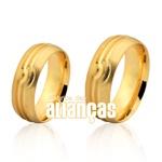 Alianças De Noivado e Casamento Em Ouro Amarelo 18k 0,750 Fa-1033