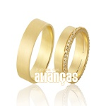 Alianças De Noivado e Casamento Em Ouro Amarelo 18k Fa-1044