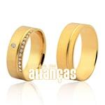 Lindas Alianças Com Diamantes De Ouro Amarelo 18k