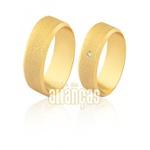 Alianças De Noivado e Casamento Em Ouro Amarelo 18k 0,750 Fa-1598