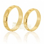 Alianças De Noivado e Casamento Em Ouro Amarelo 18k 0,750 Fa-216