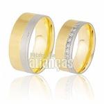 Aliança De Noivado Duas Cores Ouro 18k Com Diamantes