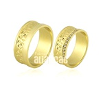 Alianças De Noivado e Casamento Em Ouro Amarelo 18k 0,750 Fa-709