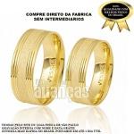 Alianças De Noivado e Casamento Em Ouro Amarelo 18k 0,750 Fa-415