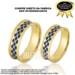 Alianças De Noivado e Casamento Em Ouro Amarelo 18k 0,750 Fa-758