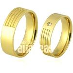Alianças De Noivado e Casamento Em Ouro Amarelo 18k 0,750 Fa-695