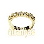 Meia Aliança Com Diamantes Em Ouro 18k 0,750 Fa-ma-13