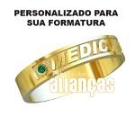Anel De Formatura De Medicina Em Ouro Amarelo 18k 0,750 Fa-1000-n