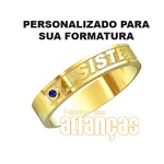 Anel De Formatura De A. De Sistema Em Ouro Amarelo 18k 0,750 Fa-1001-n