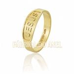 Anel Feminino Jesus Em Ouro Amarelo 18k 0,750 An-106