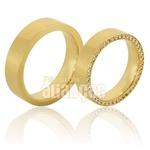 Alianças de Casamento 18k com Diamantes na Lateral