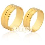 Alianças De Noivado e Casamento Em Ouro 18k Com Friso