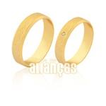 Aliança Em Ouro Amarelo 18k Com Brilhante