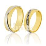 Alianças De Noivado e Casamento Em Ouro Amarelo 18k 0,750 Fa-828