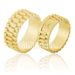 Alianças De Noivado e Casamento Em Ouro Amarelo 18k 0,750 Fa-841