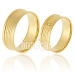 Alianças De Noivado e Casamento Em Ouro Amarelo 18k 0,750 Fa-904