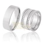 Aliança De Noivado e Casamento Em Ouro Branco 18k 0,750 Fa-911-b