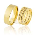 Alianças De Noivado e Casamento Em Ouro Amarelo 18k 0,750 Fa-913