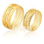 Alianças De Noivado e Casamento Em Ouro Amarelo 18k 0,750 Fa-939