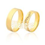 Alianças De Noivado e Casamento Em Ouro Amarelo 18k 0,750 Fa-969