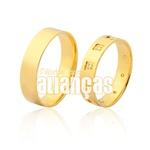 Alianças De Noivado e Casamento Em Ouro Amarelo 18k 0,750 Fa-972