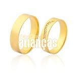 Alianças De Noivado e Casamento Em Ouro Amarelo 18k 0,750 Fa-973