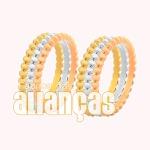 Alianças De Noivado e Casamento Em Ouro Amarelo 18k 0,750 Fa-987