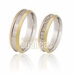 Alianças De Ouro Amarelo e Branco Com Diamantes