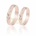 Alianças De Noivado e Casamento Em Ouro Rose 18k 0,750 Fa-188-r