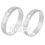 Alianças De Noivado e Casamento Em Ouro Branco 18k 0,750 Fa-228-b