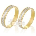 Alianças De Bodas Em Ouro Amarelo 18k 0,750 Fa-229