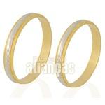 Alianças De Bodas Em Ouro Amarelo 18k 0,750 Fa-235