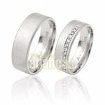 Aliança De Noivado e Casamento Em Ouro Branco 18k 0,750 Fa-281-b