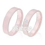 Alianças De Noivado e Casamento Em Ouro Rose 18k 0,750 Fa-305-r