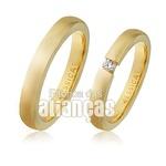 Alianças Anatômicas De Noivado Ouro 18k Com Diamantes