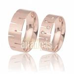 Alianças Anatômica De Ouro Rose 18k Com Diamantes