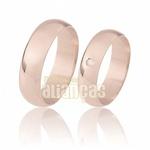 Aliança De Ouro Rose 18k Com Diamantes